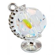 Crystal Spinning Globe And Sterling Silver Charm